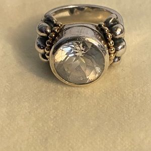 Lagos Caviar sterling/18k ring with clear stone